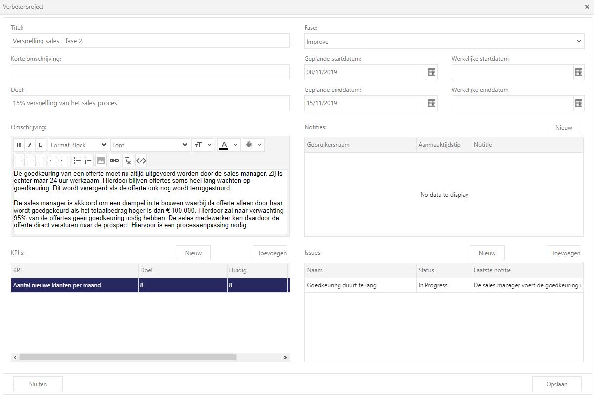Siderian Cloud: vastlegging project voor procesverbetering in DMAIC cyclus