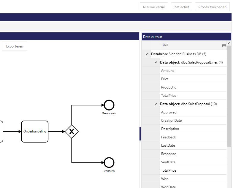 Siderian Cloud BPM - Input/output vastleggen